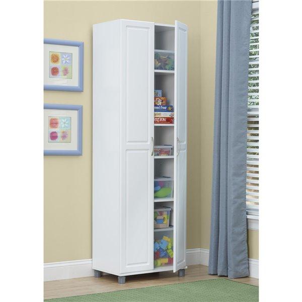 Cabinet de rangement utilitaire Kendall de System Build, 15,38 po x 15,69 po x 74,31 po, blanc