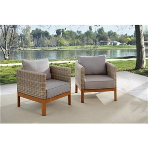 Cosco Outdoor Living Deep Seating Patio Lounge Chairs - Beige - 2-Pk
