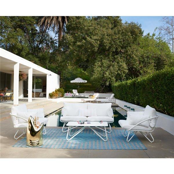 Novogratz Poolside Gossip Collection Loveseat & Coffee Table - White
