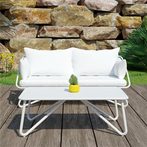 Novogratz Poolside Gossip Collection Loveseat & Coffee Table - White