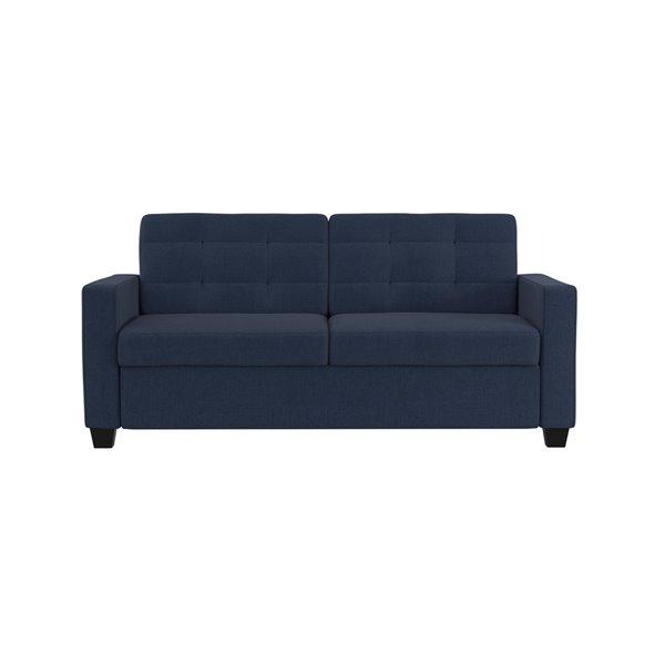 Dorel Signature Devon Linen Sleeper Sofa with Memory Foam Mattress - Queen - Blue