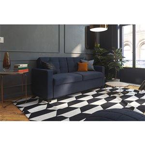 Canapé avec matelas mousse mémoire, grand, bleu