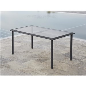 Table à manger Lakewood de Cosco Outdoor Living, 35,83 po x 63,39 po, gris