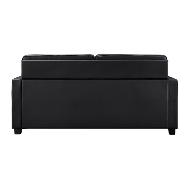 Dorel Signature Casey Faux Leather Sleeper Sofa with Memory Foam Mattress - Queen - Black