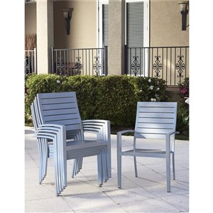Cosco Outdoor Living Intellifit Stacking Dining Chairs - Navy - 6-Pk