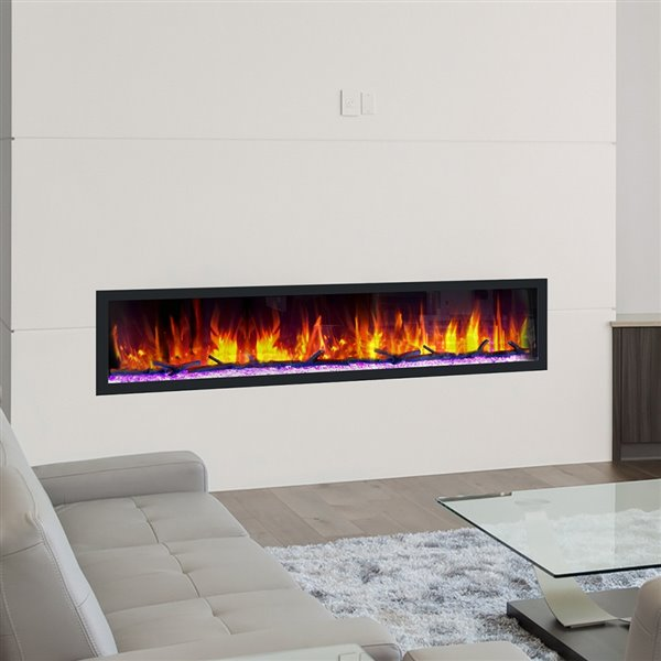 Dynasty Cascade Smart Control Electric Fireplace - 74-in - Black
