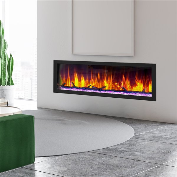 Dynasty Cascade Smart Control Electric Fireplace - 52-in - Black