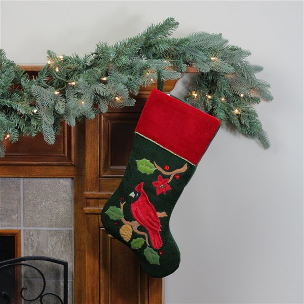 Northlight Cardinal Embroidered Christmas Stocking - 20.5-in - Red and Green
