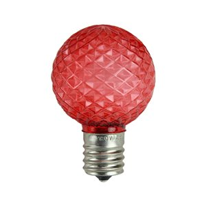 Northlight Faceted LED G40 Christmas Replacement Bulbs - Red - Pack of 25