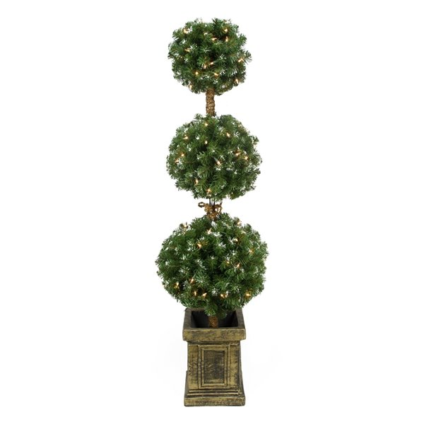 Triple Ball Artificial Topiary Tree in Decorative Pot - Pre-Lit - 4.5' - Froster