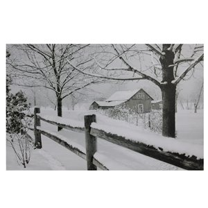 Northlight Snowfall Country Rustic Farmhouse Canvas Wall Art - Fiber Optic Lighted - 15.75-in x 11.75-in