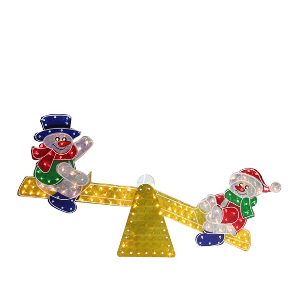Northlight Lighted Holographic Snowmen on See Saw Outdoor Decor - 48-in - Yellow and Red