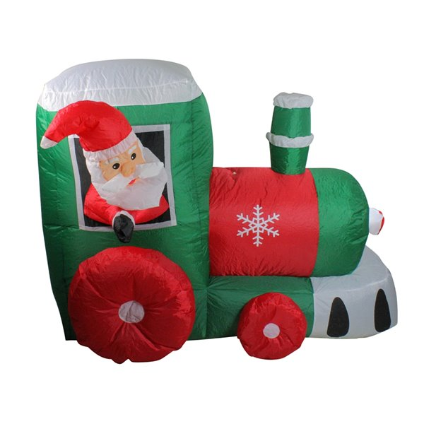 Northlight Inflatable Santa on Locomotive Train Outdoor Christmas Decoration - Lighted - 4.5-ft