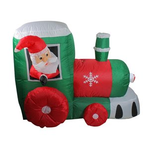 Northlight Inflatable Santa on Locomotive Train Outdoor Christmas Decoration - Lighted - 4.5-ft