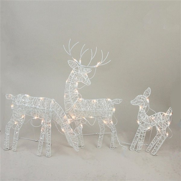 Northlight Glittered Doe Fawn and Reindeer Lighted Outdoor Decoration - Set of 3 - White