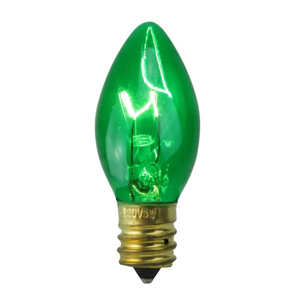 Northlight Transparent C7 Christmas Replacement Bulbs - Green - Pack of 25