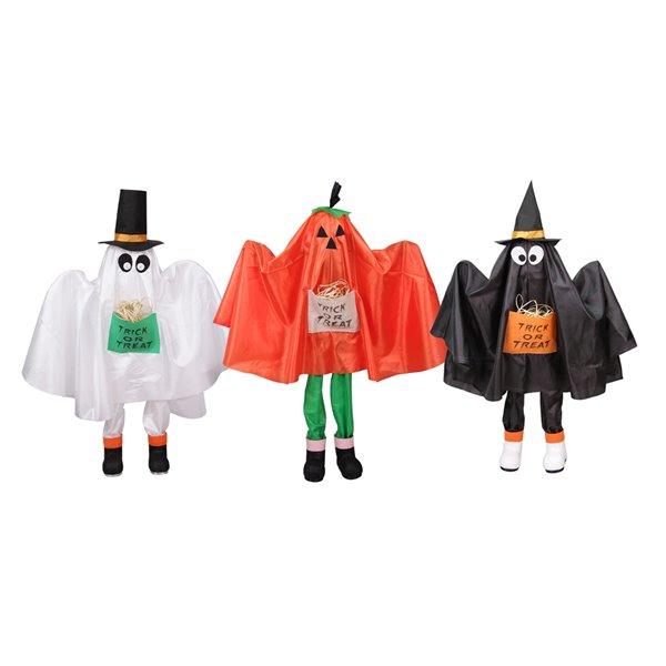 Northlight Ghost Pumpkin and Bat Standing Halloween Kid Figures -  Set of  3