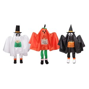 Northlight Ghost Pumpkin and Bat Standing Halloween Kid Figures -  Set of  3