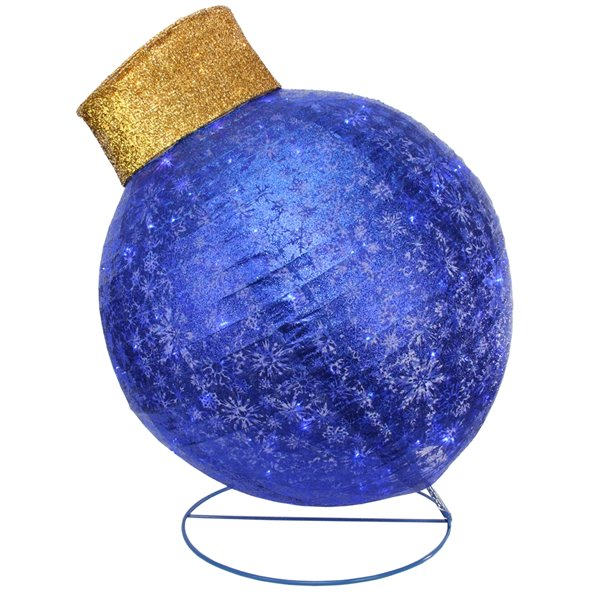 Northlight LED Lighted Twinkling Glitter Christmas Ball Ornament Outdoor Yard Decor - 36-in - Blue