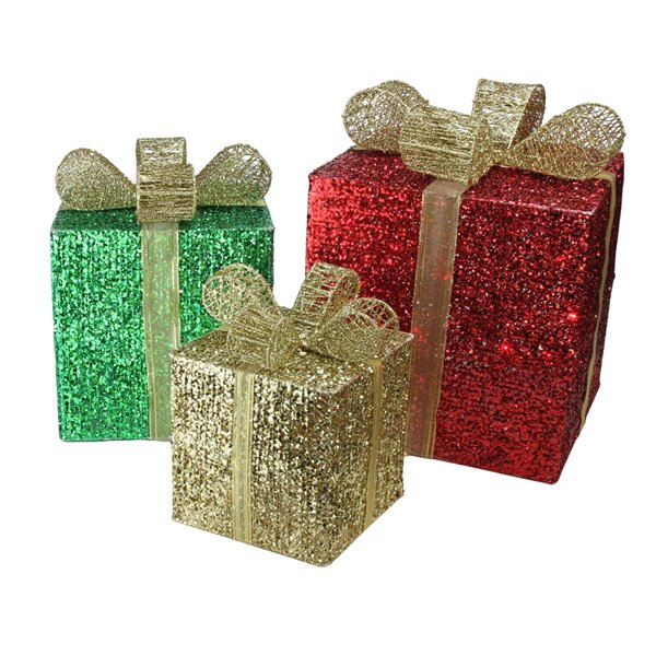 Northlight Lighted Glittering Gift Box Christmas Outdoor Decor - 15-in - Set of 3