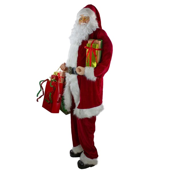 Northlight Standing Santa Claus with Presents Christmas Decor - 6-ft - Red and White