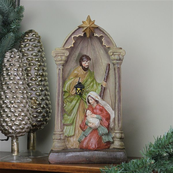Northlight Holy Family and Angel Figures Christmas Nativity Statue Decor - 14.5-in