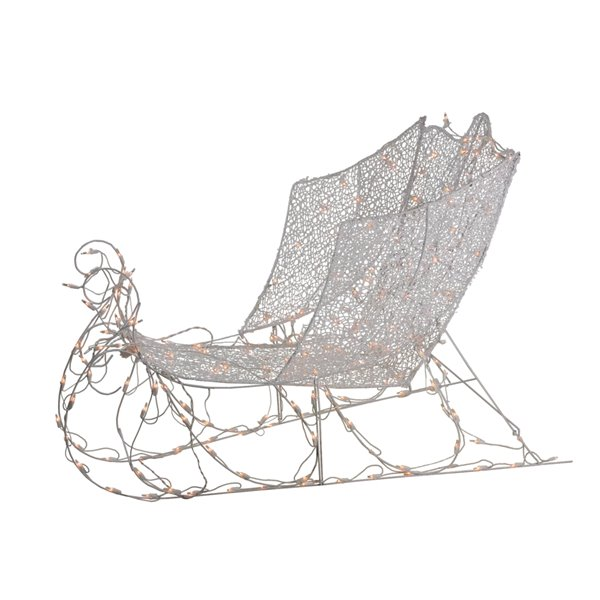 Northlight White Pre-Lit Crystal 3D Christmas Sleigh Outdoor Decor - 48-in - White