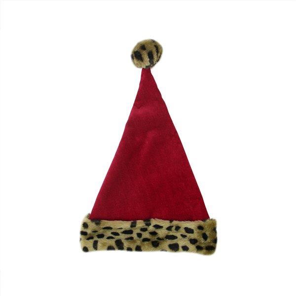 Northlight Leopard Cuffed Unisex Adult Christmas Santa Hat - 17-in - Red and Brown