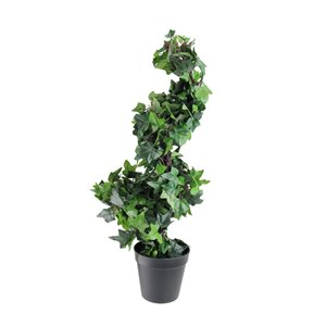Potted Ivy Spiral Topiary Artificial Christmas Tree - Unlit - 1.8' - Green and Black