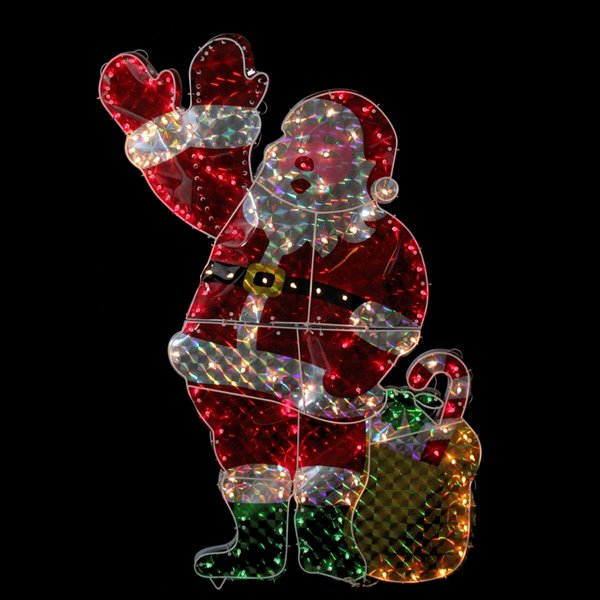 Northlight Holographic Lighted Waving Santa Claus Christmas Yard Art Decoration - 48-in
