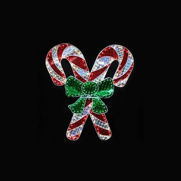 Northlight Lighted Candy Cane Window Silhouette Decoration - 48-in - Red and White