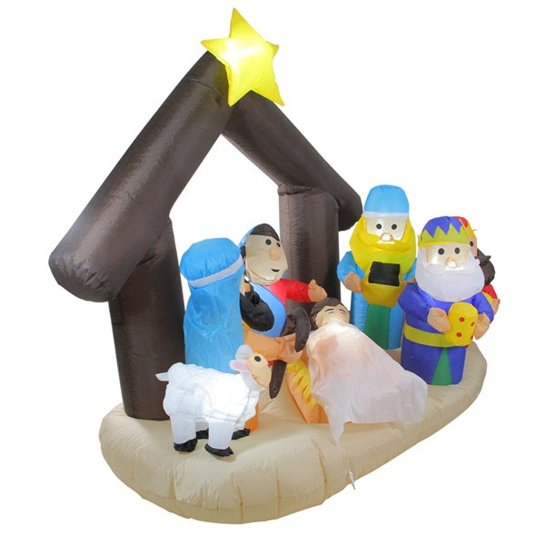 Northlight Inflatable Nativity Scene Christmas Outdoor Decoration - Lighted - 5.5-ft
