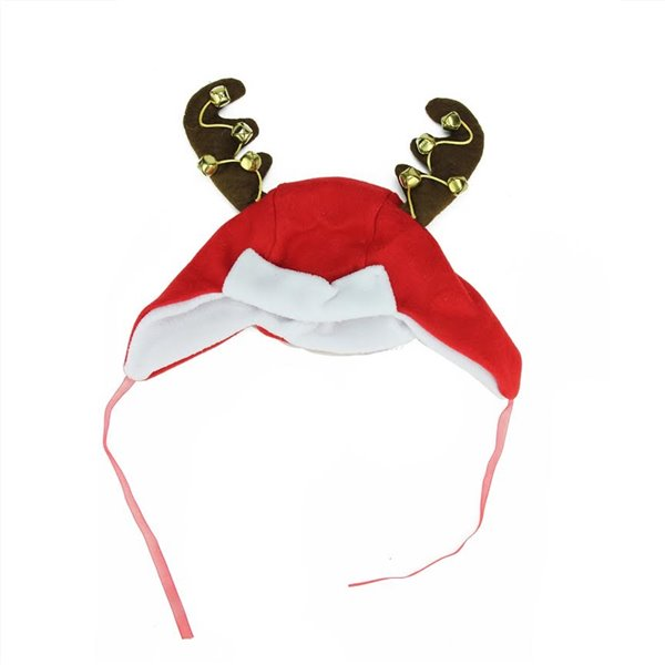 Northlight Antlers Unisex Adult Christmas Trapper Hat Costume Accessory - 17-in - Red and White