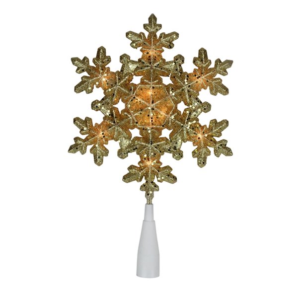 Northlight Lighted Snowflake Christmas Tree Topper - Clear Lights - 9-in - Gold
