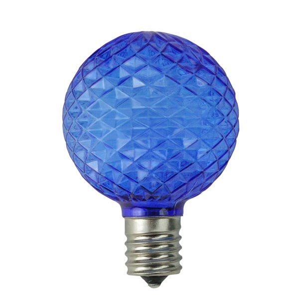 Northlight Faceted LED G50 Christmas Replacement Bulbs - Blue - Pack of 25