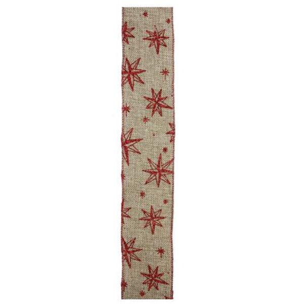 Northlight Star Wired Christmas Craft Ribbon - 2.5-in x 10 Yards - Red and Beige