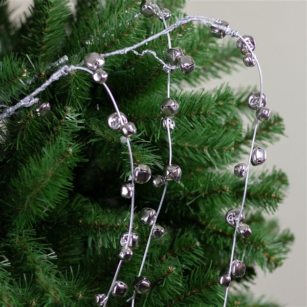 Northlight Urban Nature Silver Hanging Jingle Bell Artificial Christmas Spray - 41-in