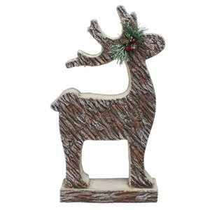 Northlight Deer Statue Christmas Decor - 19-in - Brown and Silver Wood