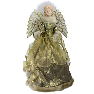 Northlight Lighted Angel in Gown with Harp Christmas Tree Topper - 16-in - Gold and Brown