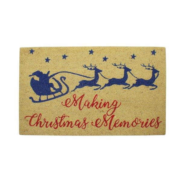 Northlight Santa and Reindeer Making Christmas Memories Doormat - 30-in x 18-in