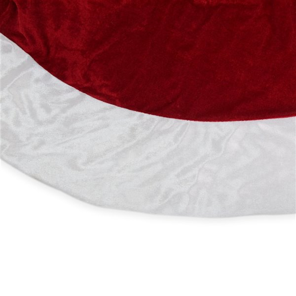 Northlight Solid Round Christmas Tree Skirt - 60-in - Red and White