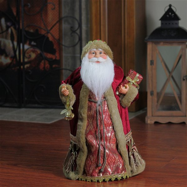 Northlight Red Santa Claus Holding a Gift Tree Topper - 18-in - Gold and Burgundy
