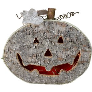 Northlight Halloween Jack-O-Lantern Table Top Decoration - 12-in - LED Battery Operated - Gray