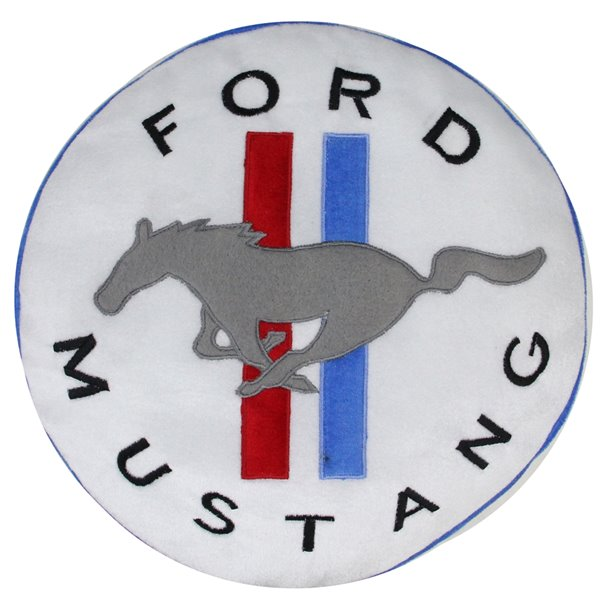Northlight Ford Mustang Round Christmas Throw Pillow - 13.5-in -  White