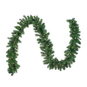 "Pre-Lit Oak Creek Pine Artificial Christmas Garland - 9' x 10"" - Clear Lights"