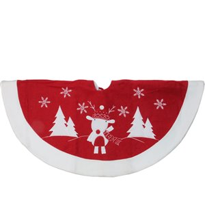 Northlight Winter Reindeer Embroidered Christmas Tree Skirt - 46-in - Red and White