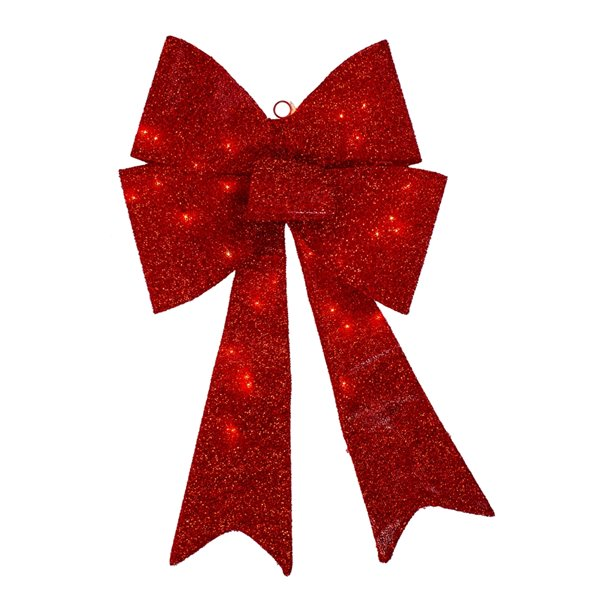Northlight Sparkly Lighted Bow Christmas Decoration - 30-in - Red
