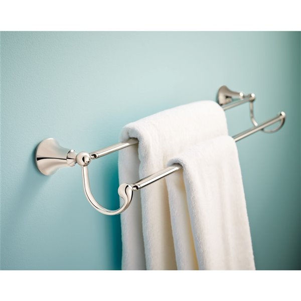 "Moen Wynford Bathroom Double Towel Bar - 24"" - Chrome"