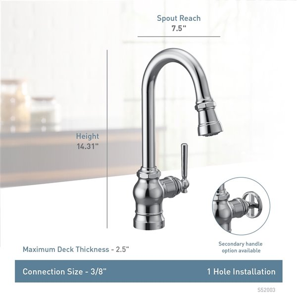 Moen Paterson Pulldown Single Mount Bar Faucet - Stainless