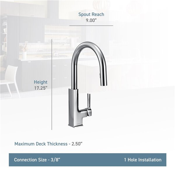Moen STO Pulldown Kitchen Faucet - Matte Black/Chrome